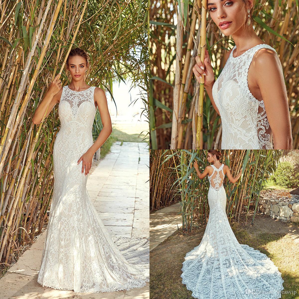 eff179d6677a Eddy K Mermaid Wedding Dresses Lace Jewel Neck Sweep Train Sleeveless Beach Wedding  Dress Button Back Plus Size Country Bridal Gowns Halter Mermaid Wedding ...