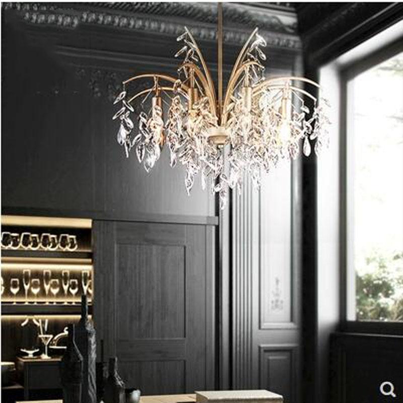L minimaliste européen moderne luxe rétro chambre lampe lampe salon lampe  salle à manger bougie lumière lustre en cristal led