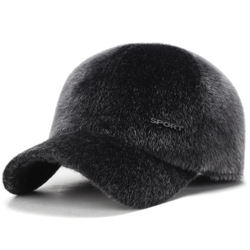 de84f67cd1d 2018 Winter Imitation Mane Men Warm Baseball Caps With Ear Flaps Dad ...