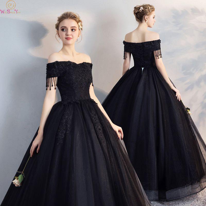 c4bbec377b 2019 Latest Boat Neck Ball Gown Evening Dresses Black Off The Shoulder  Tulle Lace Up Tassel Long Elegant Lace Formal Party Dress Evening Dress  Black Evening ...