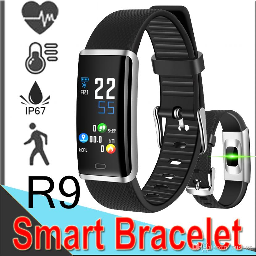 R9 Smart Bracelet Band 0 96 LED Touch Bluetooth IP67 Waterproof Heart Rate  Blood Monitor fitness tracker Wristband for iphone Android XCTR9