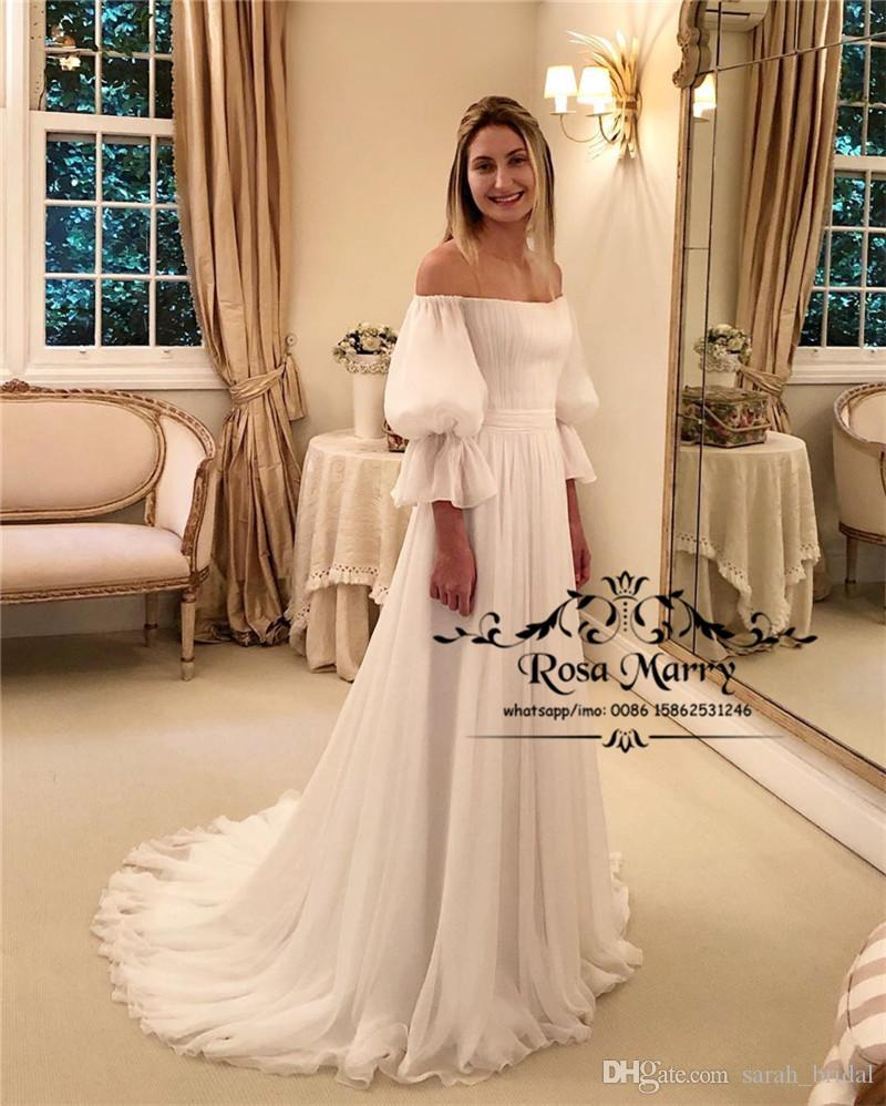 Plus Size Beach Boho Wedding Dresses 2019 A Line Off Shoulder Long Sleeves Long Chiffon White Simple Boho Hippie Country Bridal Gowns