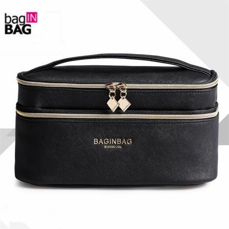 2ee2eb38d020d2 Fashion Double Layer Brand Cosmetic Bag Cross PU Leather Multifunctional Make  Up Bag Organizer Makeup Pouch Toiletry Bag Neceser Y181122 Makeup Boxes  Beauty ...