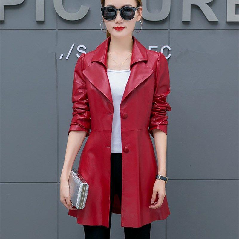 6c8a865104b Winter Autumn Long Leather Jacket 2018 Elegant Slim Ladies PU ...