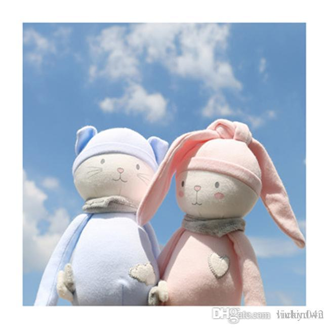 20170630 Hot Sales Nordic Girl Pink Rabbit Blue Cat Baby Comfort Doll Plush Toy Free Shopping
