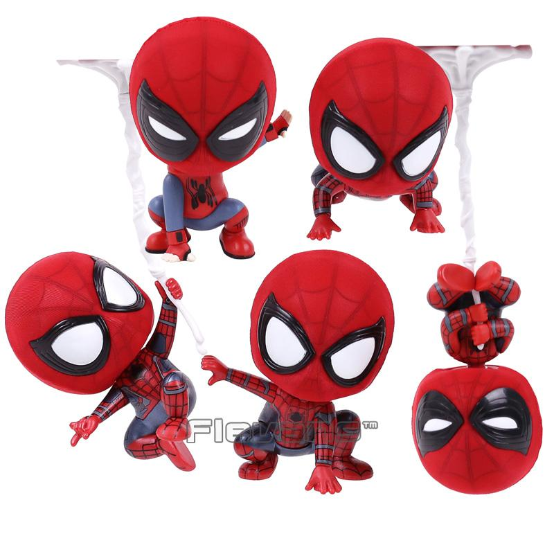 Hot Toys Cosbaby Marvel Spider Man Homecoming The Spiderman Q Version Mini PVC Figures Toys Car Home Decoration Doll 5 Styles