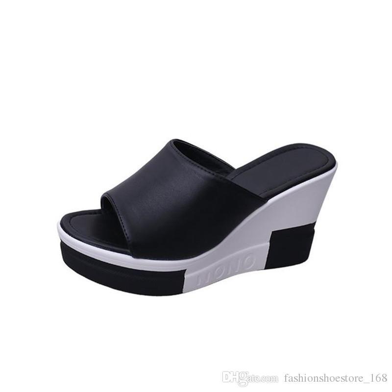 38d40c97 Compre Zapatos De Verano Mujer Tacón Alto 9 CM Inclinado Con Plataformas Zapatillas  Moda Casual Señoras Cuñas Sandalias De Playa Mujeres Chanclas A $32.47 ...