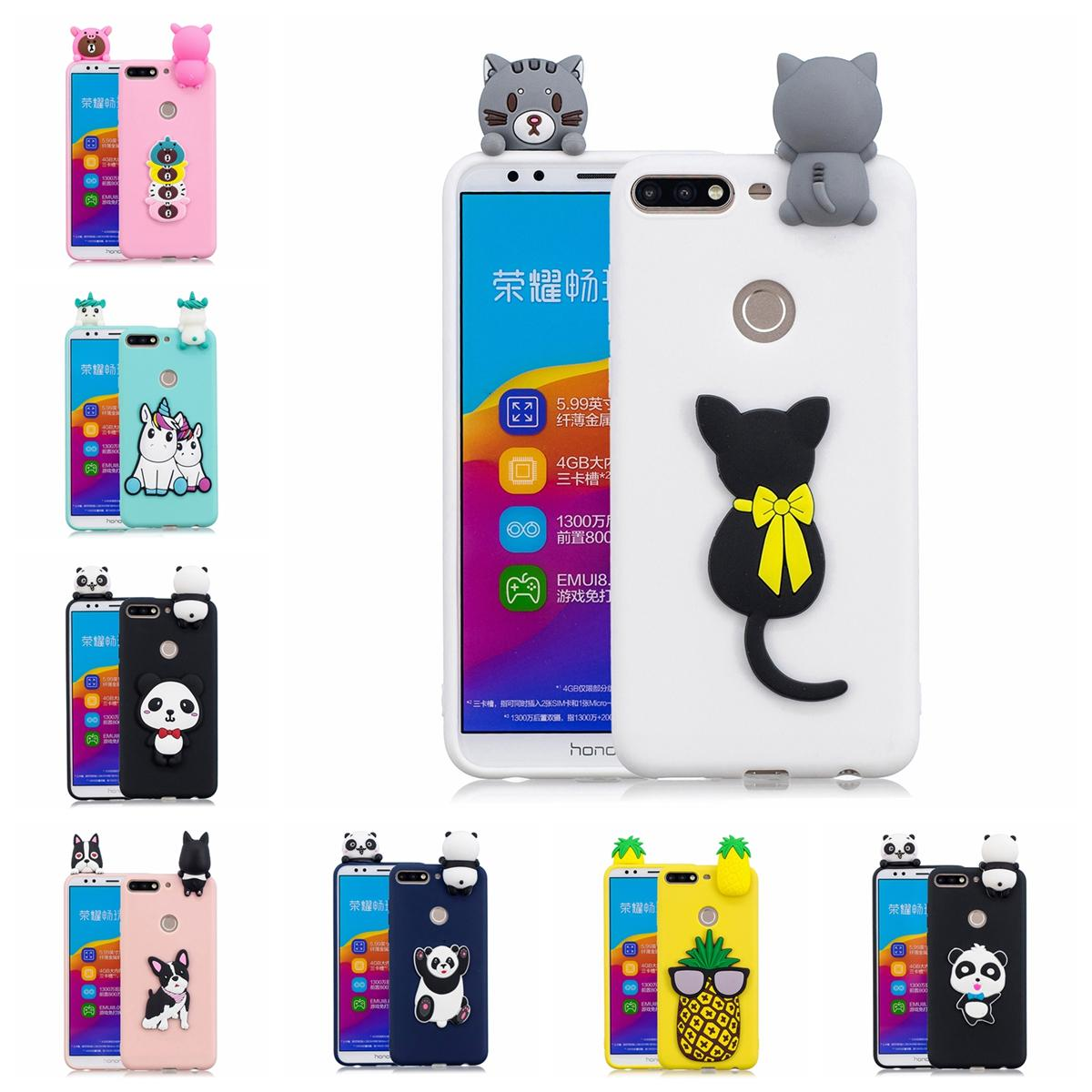 Pasted 3D Funny Animal Case for Honor 7C TPU Cover Sticking a Little Panda  Doll 61 Models Option