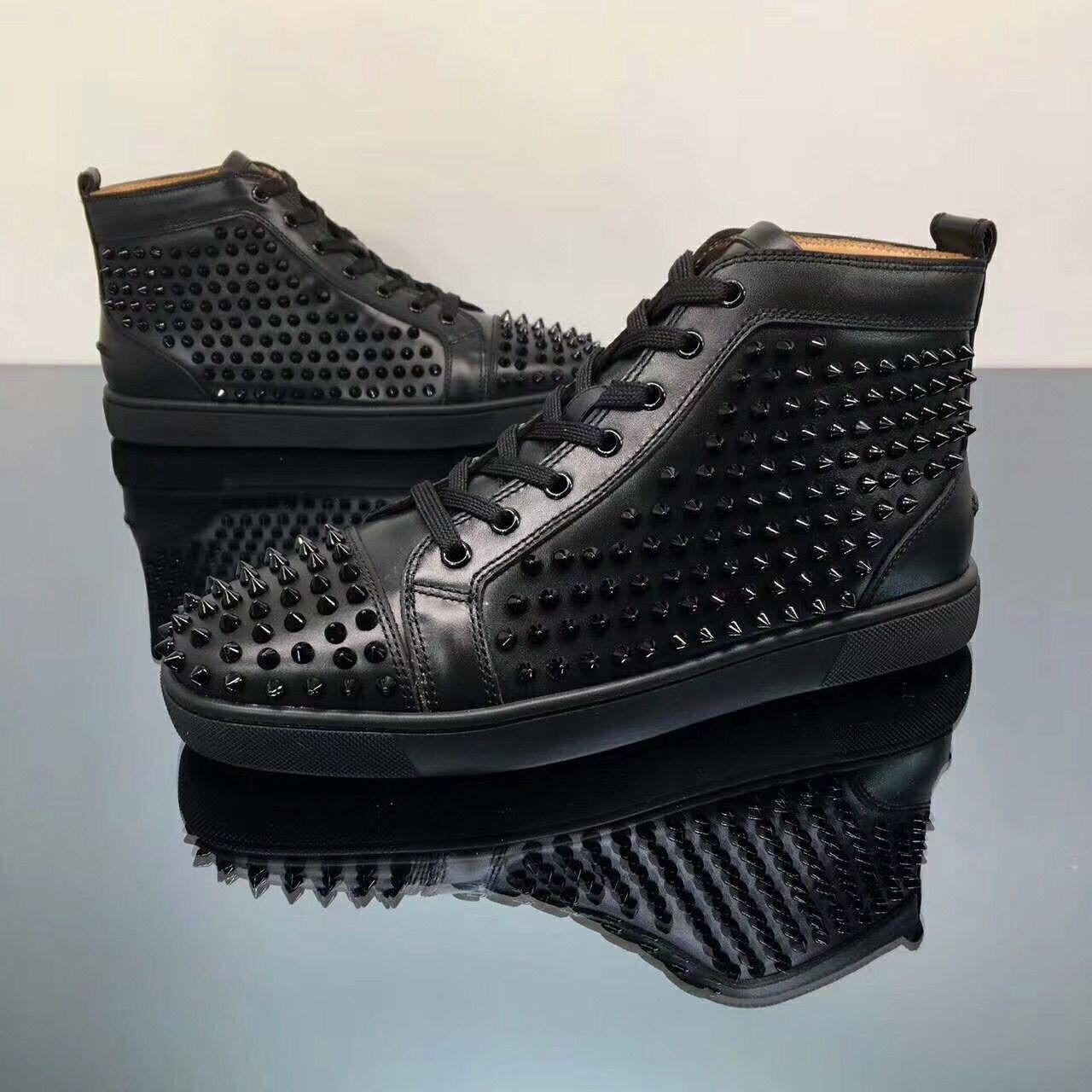 High Top Spikes Sneakers Shoes For Women Men Black Glitter Red Bottom Casual Walking Perfect Rivets Skateboarding Designer Sports Shoes