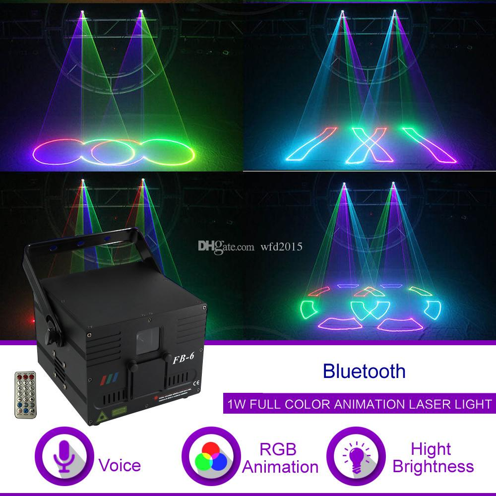 1W DMX512 ILDA Bluetooth RGB Animation Beam Pattern Laser Projector Light  DJ Party Show Gig Nightclub Professional Stage Lighting FB6-APP