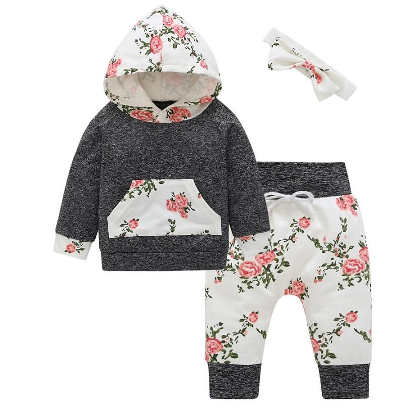65762903759c3 Infant Toddler Newborn Baby Girls clothes Floral Outfit Tracksuit Hooded  Tops+Leggings Pants Headband 3Pcs baby clothing Set