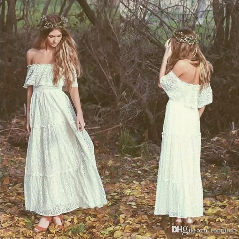 2020 Elegant Bohemian Ankle Length Ivory Full Lace Cheap Wedding Dresses Off Shoulders A Line Beach Garden Cheap Bridal Gowns