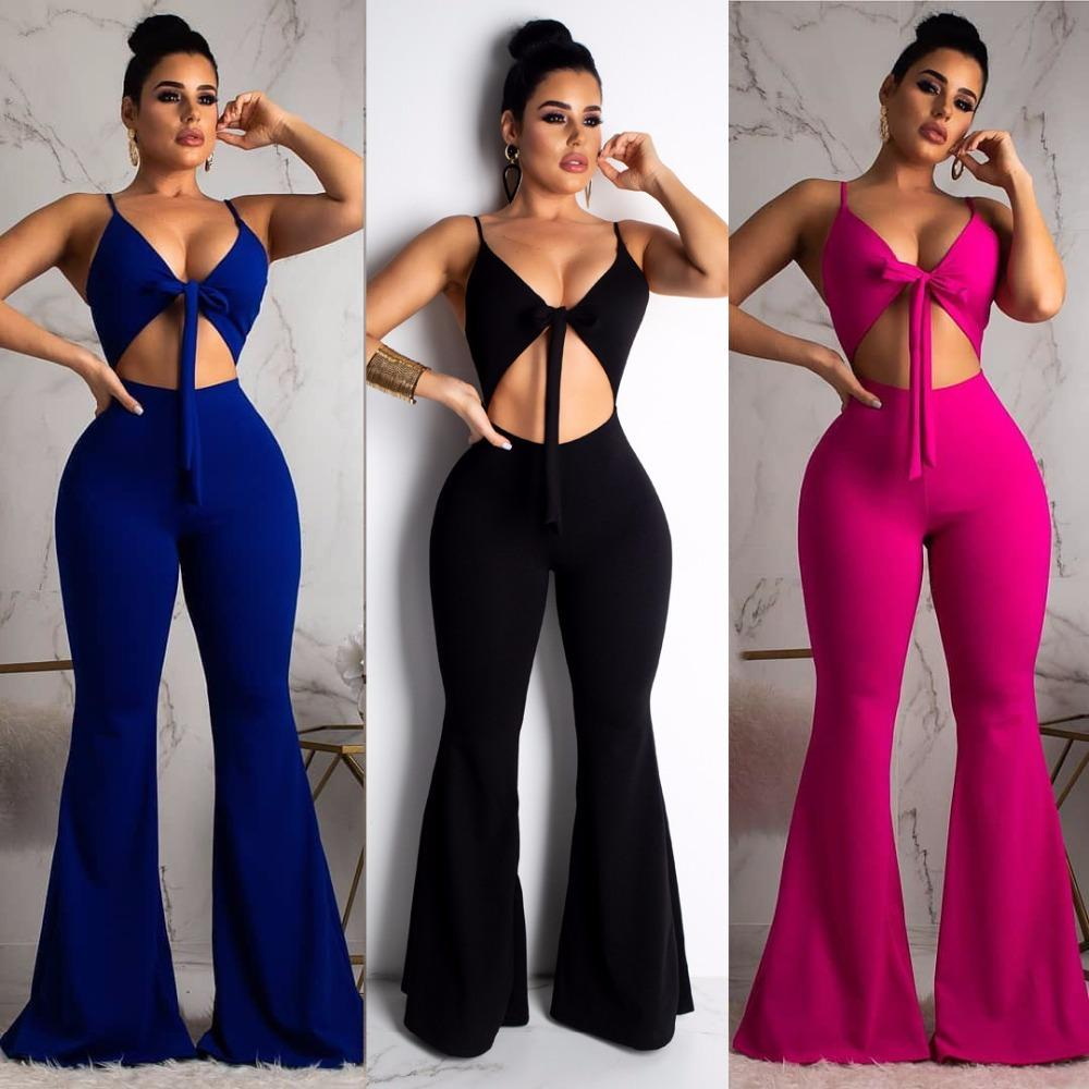 d5913bb3d079 2019 2019 New Summer Women Sexy Spaghetti Strap Hollow Out Zipper Sleeveless  Boot Cut Jumpsuit Casual Romper Playsuit LD8275X From Blueberry16