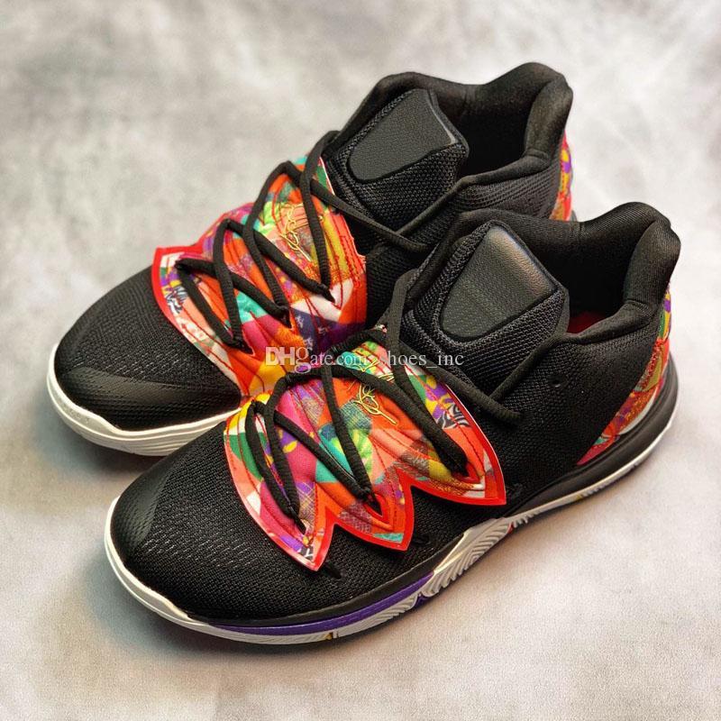 457cd2b253f7 Satın Al 2019 Yeni Kyrie 5 Satılık Basketbol Ayakkabı Siyah Sihirli En  Kaliteli Kyrie Irving V Mağaza Büyük Çocuklar Erkek Spor Sneakers Boyutu 40  46