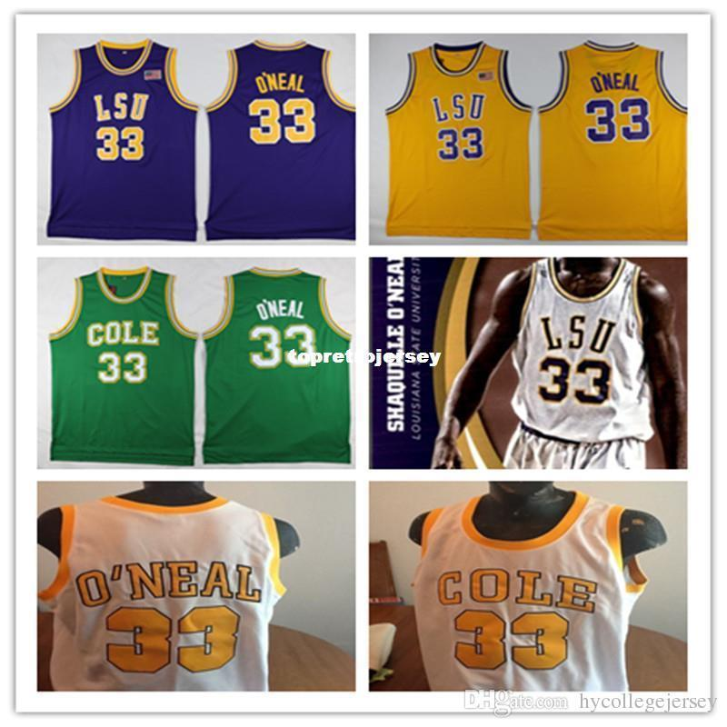 low priced d3004 f514f Cheap Shaquille Oneal Jersey, #33 SHAQUILLE O NEAL COLE High School vest  T-shirt Basketball Jerseys, Men s Stitched Shaq Oneal Jer