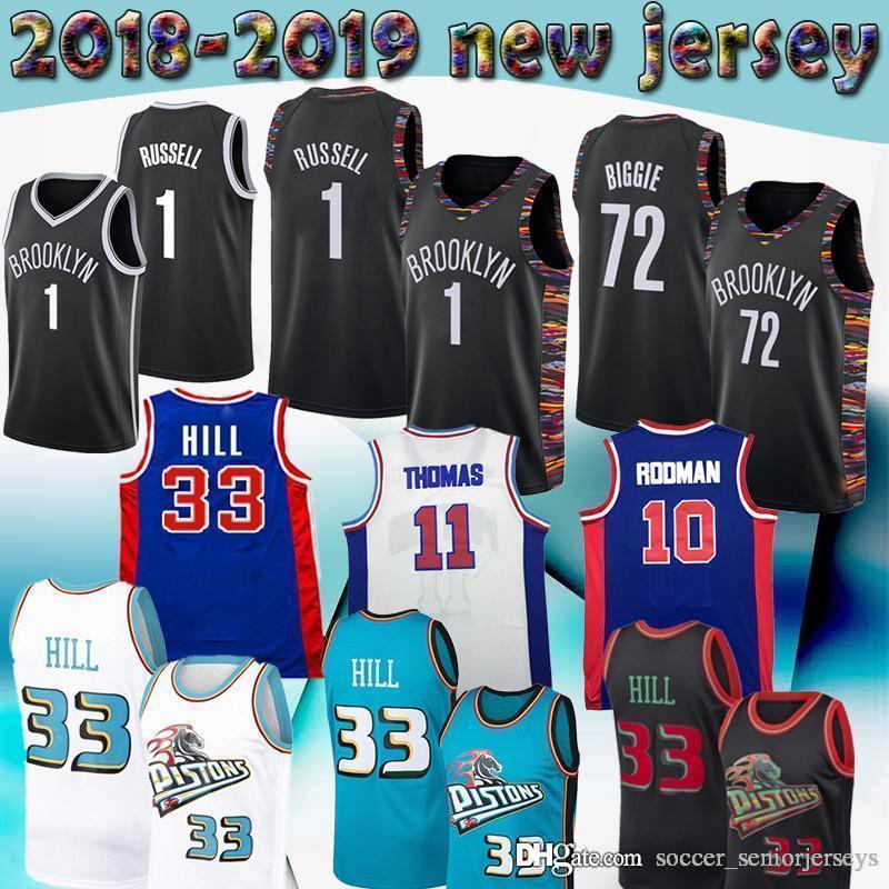 online store 41c49 f7fbe Brooklyn D Angelo 1 Russell Jersey Nets Black 72 Biggie Detroit Grant 33  Hill Pistons 11 Thomas 10 Rodman retro Mens Basketball Jerseys
