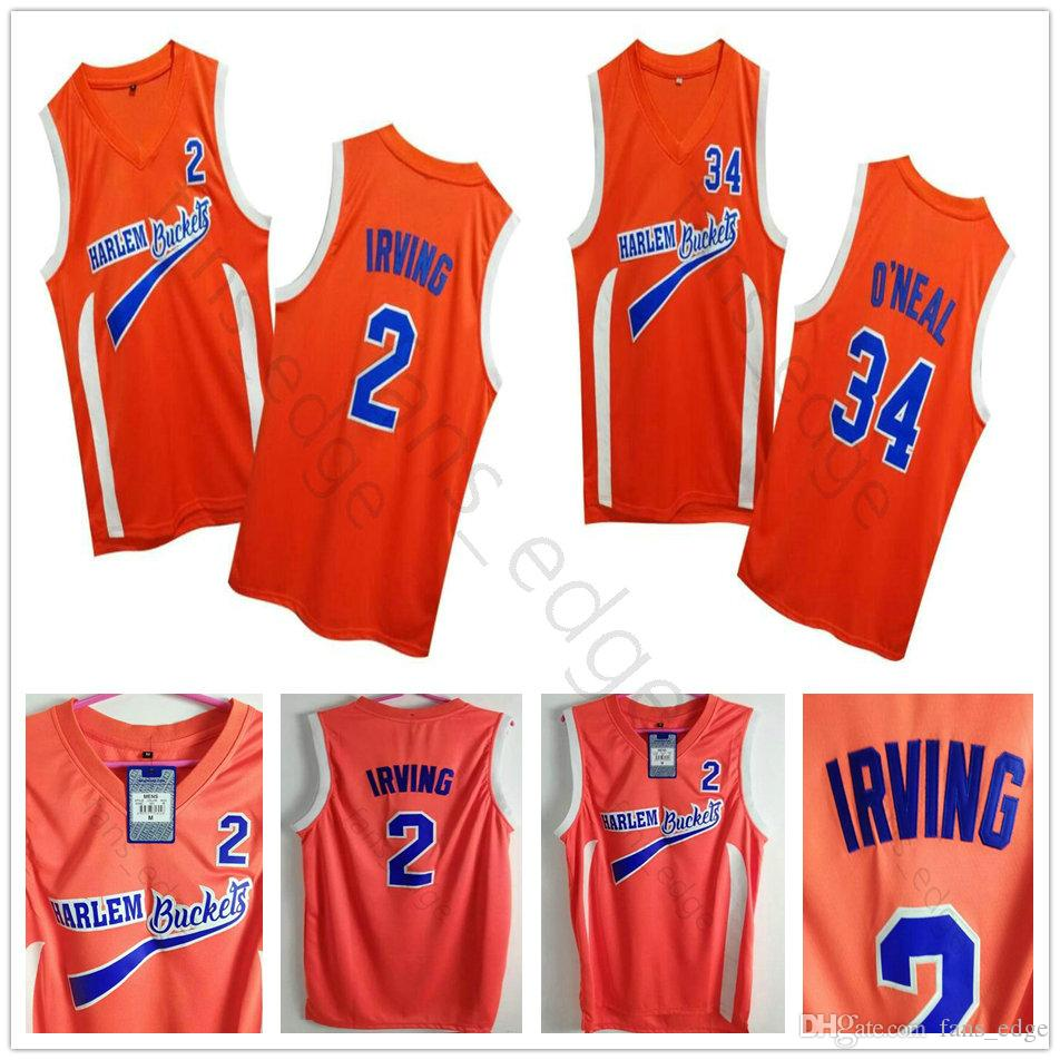 los angeles d9512 7cd0d Uncle Drew Costume #2 Kyrie Irving Jersey Harlem Buckets Movie Film Orange  NCAA Stitched #34 Shaquille O Neal Basketball Jerseys ONea Shirts