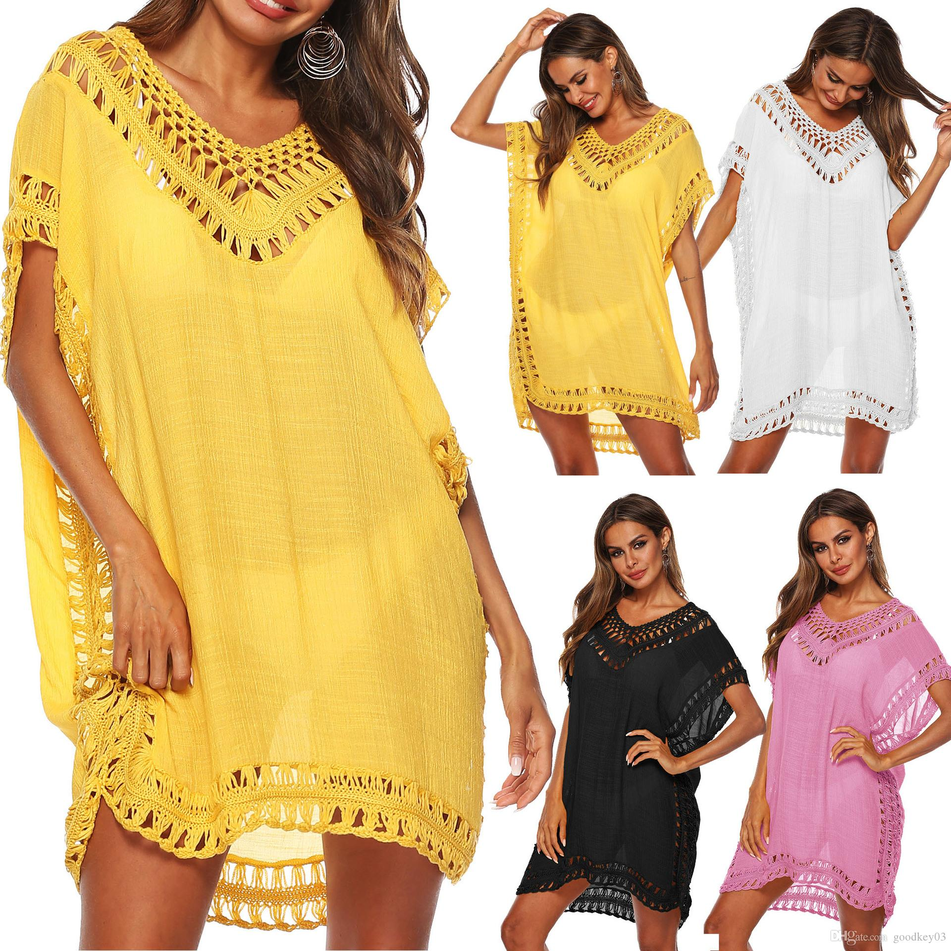 1b358c5a7b2 2019 Kaftan Tunic Beach Dress 2019 Lady Bikini Swim Wear Summer Swimsuit  Cover Up Boho White Yellow V Neck Dresses Neon Cover Ups From Goodkey03, ...
