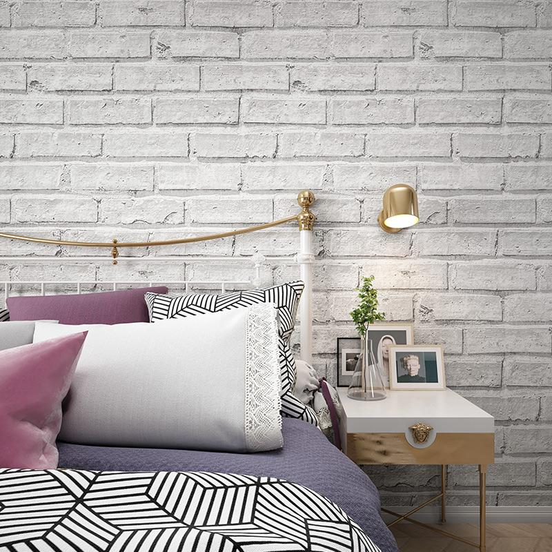 Vintage Rustic White Brick Wallpaper Roll Papel De Parede 3D Bedroom Living  Room Restaurant Modern Vinyl Wall Paper Home Decor