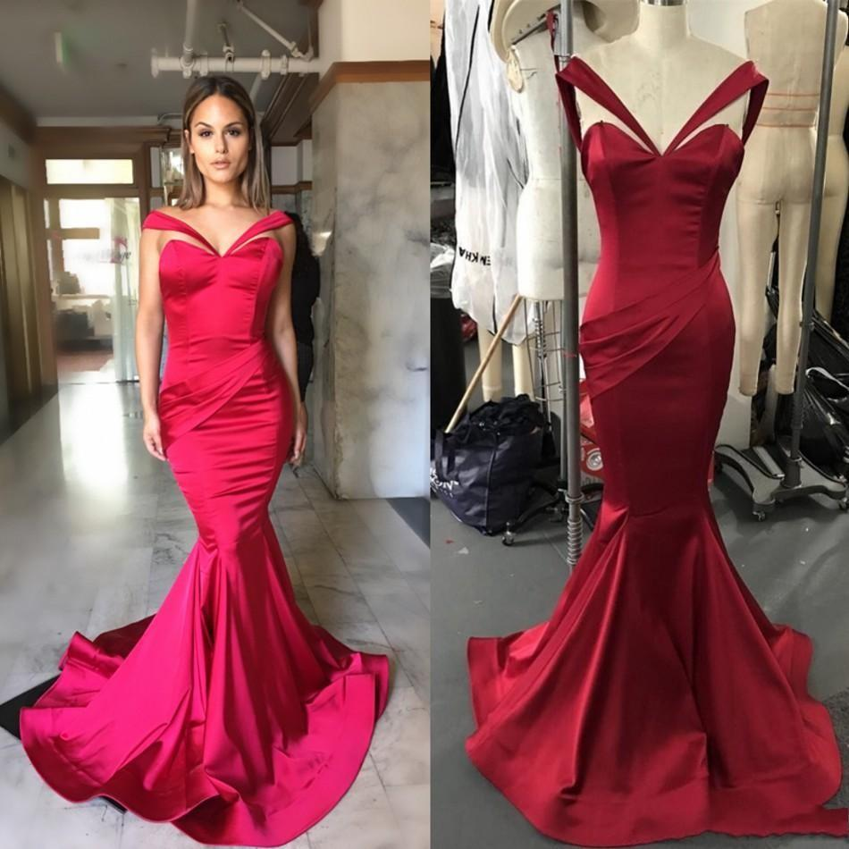 4e6c3ce99a2 Michael Costello Sexy Red Evening Gowns 2018 Off Shoulder Sweetheart Pleats  Mermaid Long Formal Prom Party Dresses Satin BA7822 Evening Dresses Sydney  ...