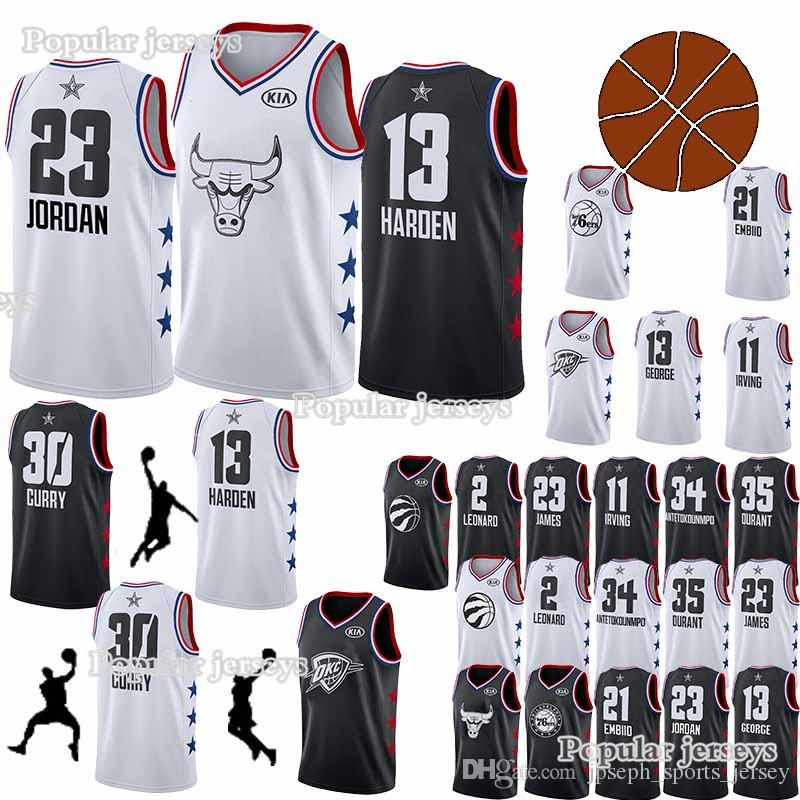sports shoes 63c30 67882 All-star jerseys 30 Curry 35 Durant 23 LeBron James 11 Irving 13 Harden 21  Embiid 2 Leonard jersey