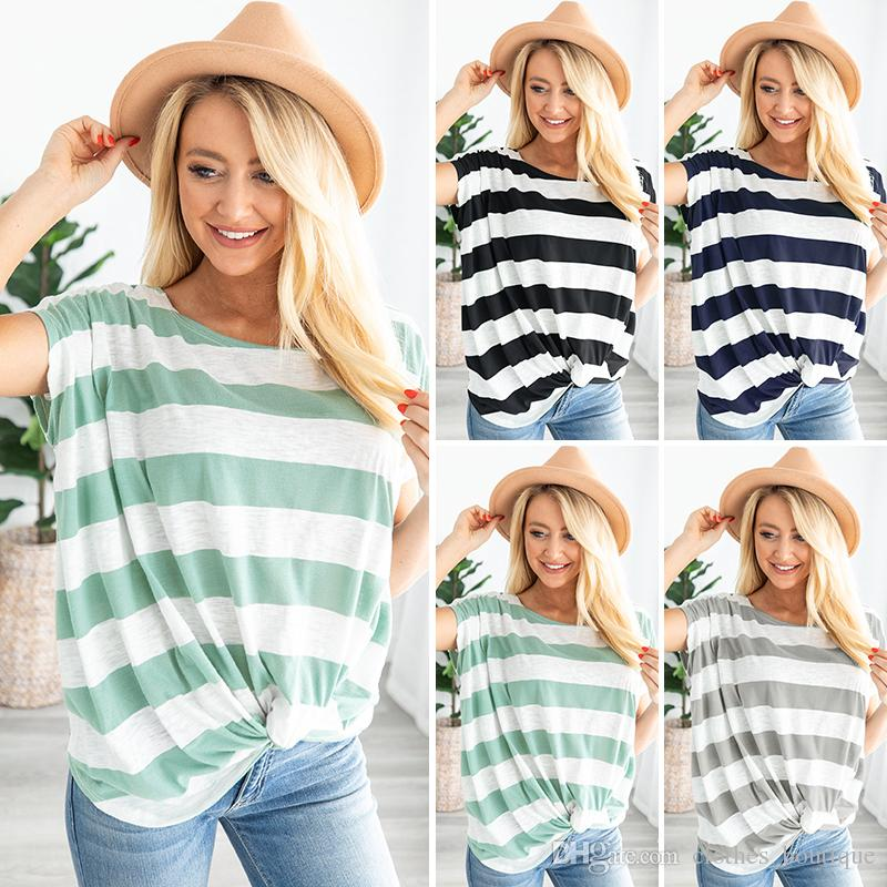 Womens Tops Plus Size T shirt Tees for summer DHL S-2XL Striped T-Shirts Front Knot Side Twist Tunic Casual Blouses Short Sleeve