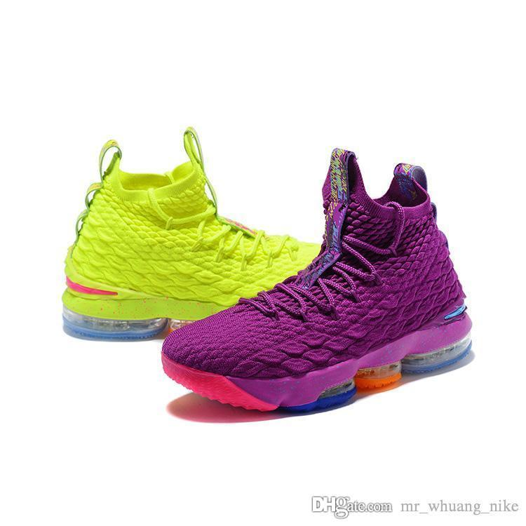 buy popular f11ab 77f12 Mens lebron 15 basketball shoes for sale Gold Purple Yellow Orange Green  boys girls youth kids outdoor sneakers tennis with box