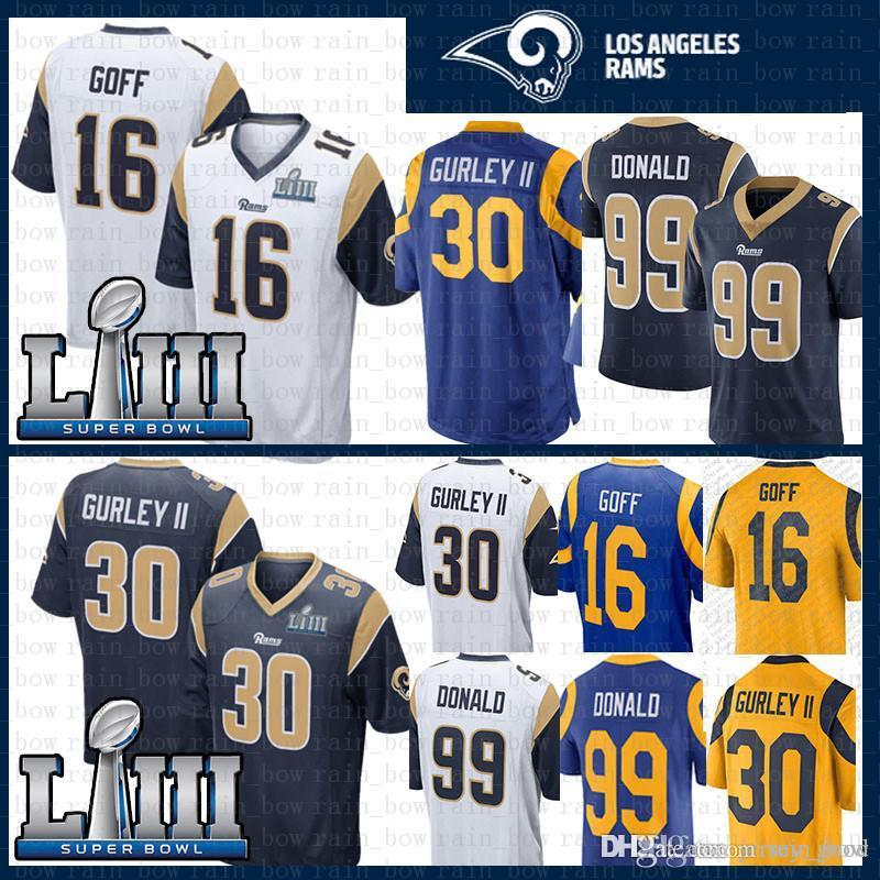 outlet store 6c5a0 9bd23 mens St.louis 16 Jared Goff 30 Todd Gurley II Rams Jersey 2019 Super Bowl  LIII 99 Aaron Donald Jersey Blue Navy White Color Rush
