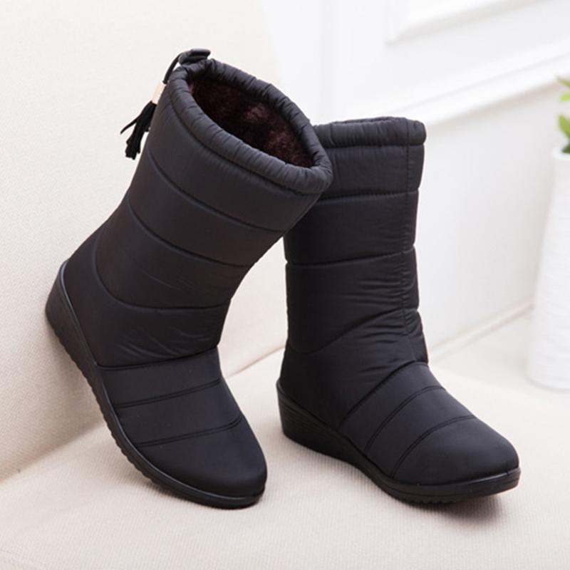 398e2f9e1 Compre Botas De Invierno Para Mujer Botas De Medio Calzo Para Mujer Mujeres  Impermeables Para La Nieve Snow Girls Zapatos De Invierno Mujer Plantilla  De ...