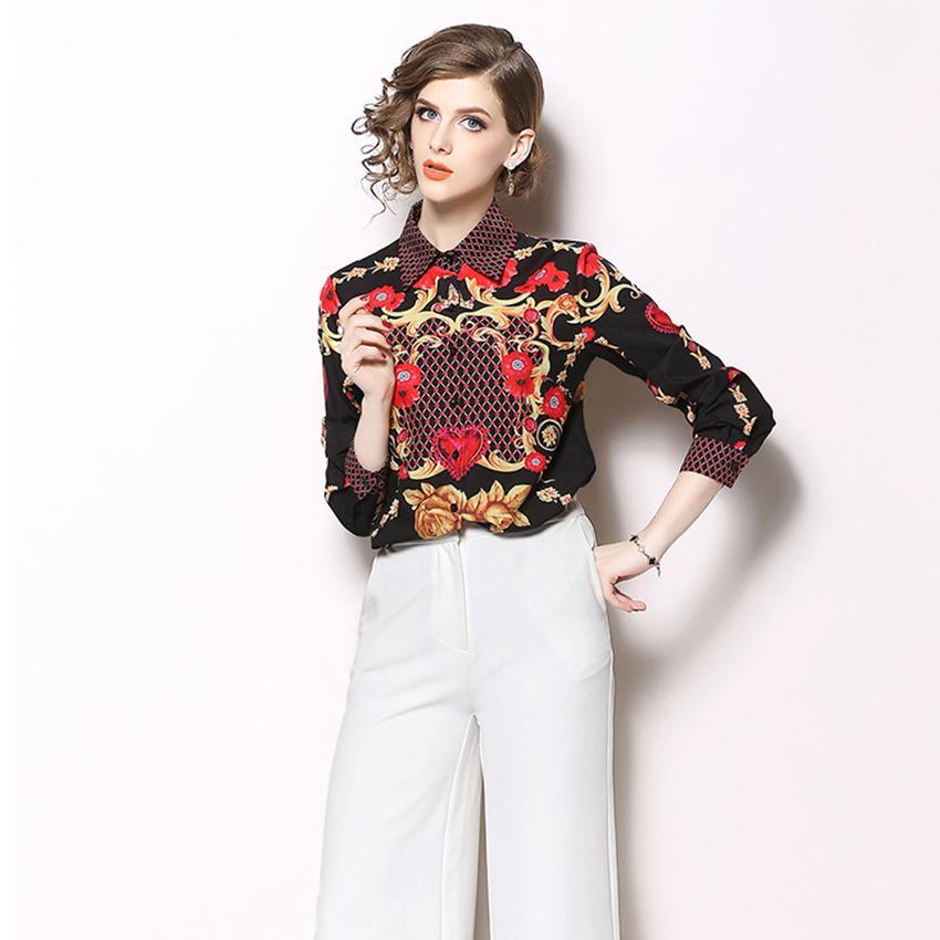 a26e91b1b97 Autumn Blouses Women Long Sleeve Print Shirts Blouse Designer Runway Tops  2019 Women High Quality Fashion Ladies Office Shirt