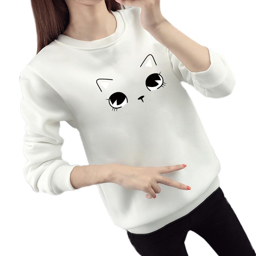55e6c17f 2019 High Quality Women Fashion Long Sleeve O Neck Cat Face Cartoon Print  Loose Base BlouseTights Skin Office Comfortbal Elegant From Homedress, ...