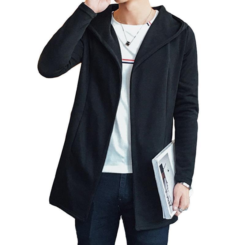 92aae892c7 2019 Nuovi uomini cardigan medio lunghezza giacche sottili solidi mens uomo  soprabiti cappotto lungo giacca a vento trench nero