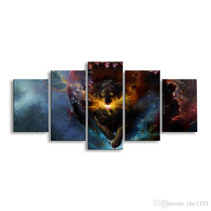 5 pieces high-definition print tiger canvas painting poster and wall art living room picture B-050A