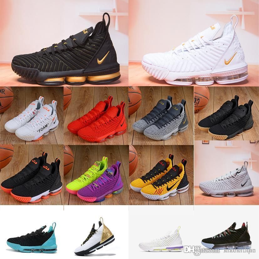 buy online a330a 14b3b Cheap new mens lebron 16 basketball shoes Purple Green All Red Orange  Yellow Gold Bruce Lee youth kids lebrons XVI sneakers tennis with box