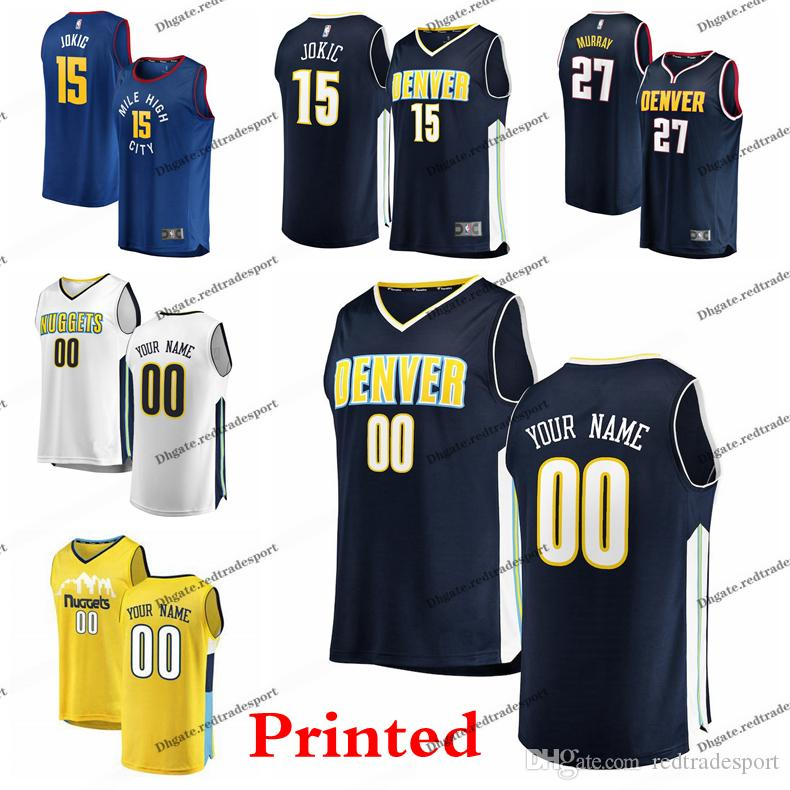 0627b5b6bb16 2019 2019 Printed Denver City Nuggets Nikola Jokic 15 Jamal Murray Morris  Gary Harris Paul Millsap Barton Malik Beasley Edition Basketball Jersey  From ...