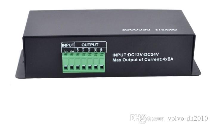 4CH DC12-24V RGBW DMX 512 Decoder led controller, RGB LED DMX512 decoder 4  Channel * 8A , Free shipping LLFA