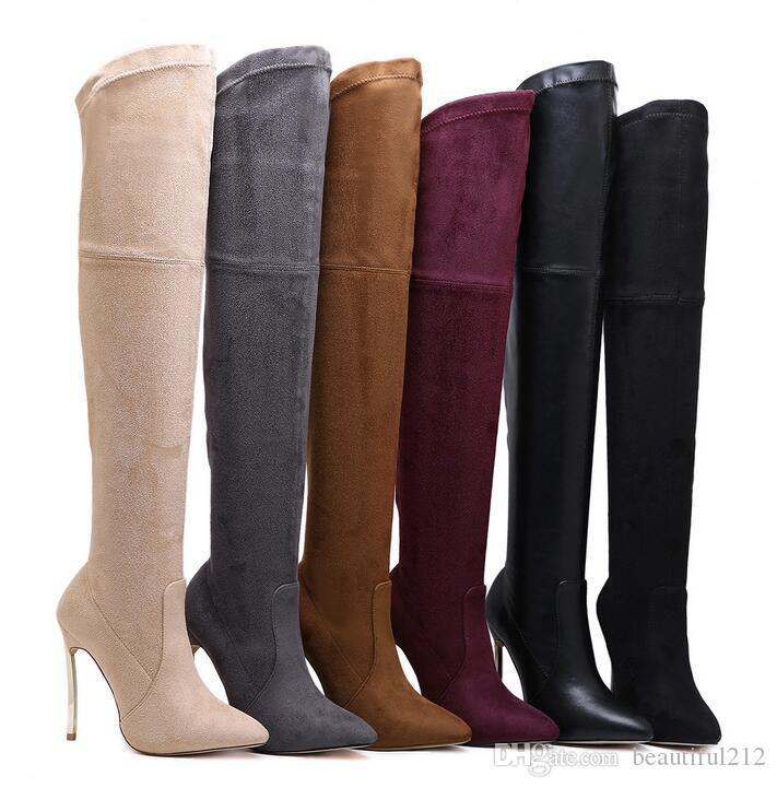 cef2c91821315 35-43 large size hot-selling boots fashion high-heeled design Europe and  the United States over the knee shoes