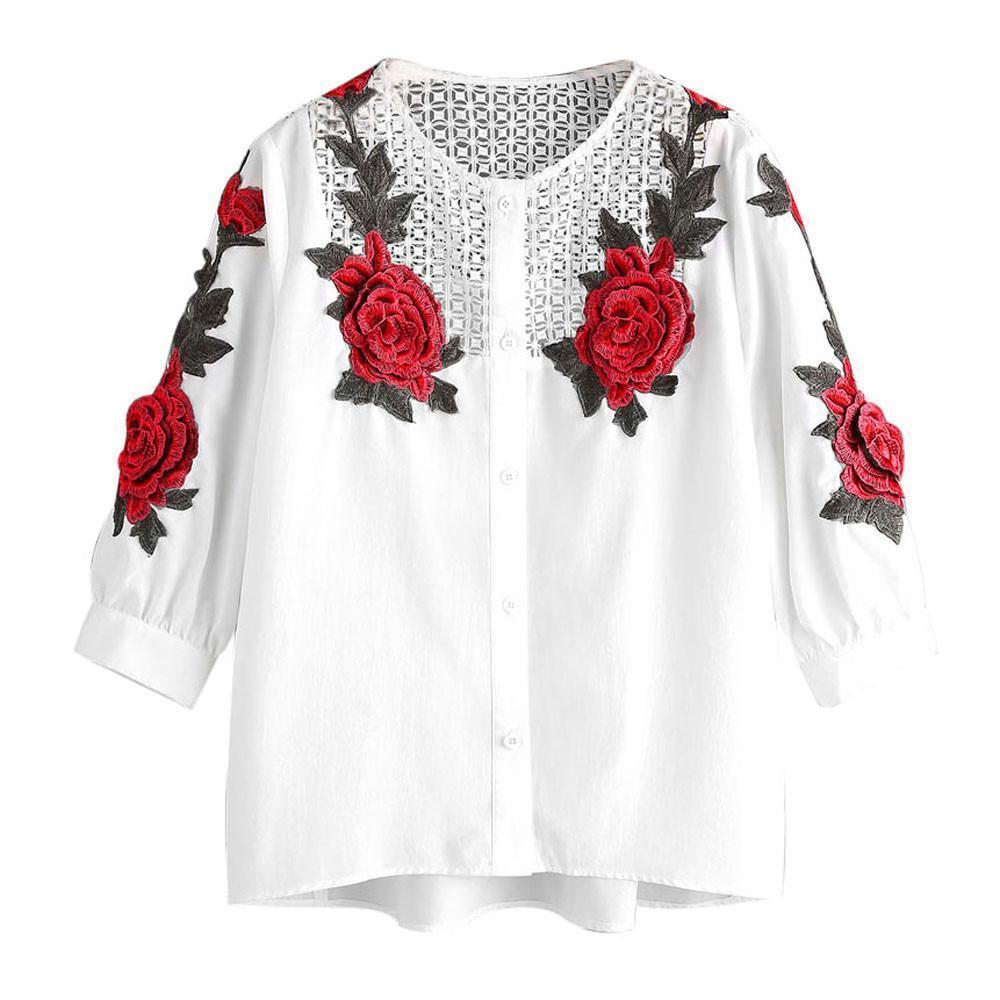 db2a6fb5f 2019 Women 20017 New Autumn White Blouse Red Rose Embroidered Shirt  Femininas Spliced Hallow Out Blusas Camisas Mujer  0205 From Jamie21