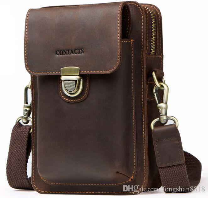 a3feb4fa7e Top Quality Real Leather Messenger Bag Men S Shoulder Bag Vintage Crazy  Horse Leather Phone Men S Bag Waist Bags Branded Bags Leather Backpacks  From ...