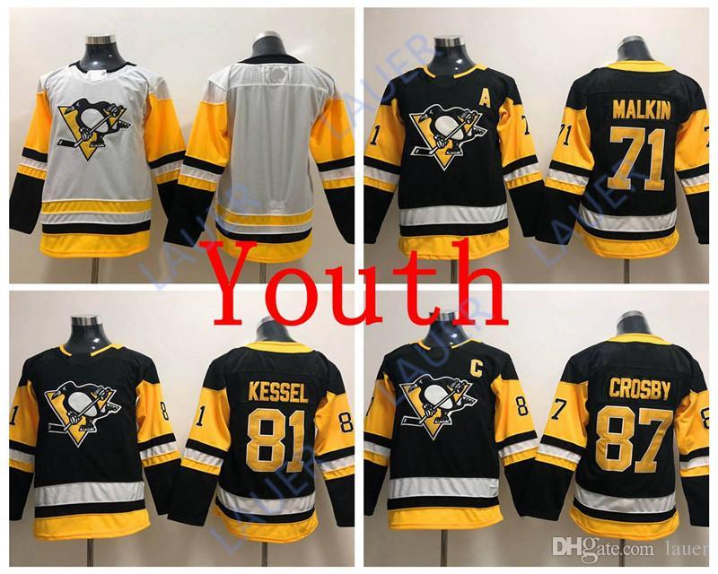 promo code 48e0c 5187e Youth Pittsburgh Hockey Penguins Jersey #87 Sidney Crosby 81 Phil Kessel 71  Evgeni Malkin Stitched Jerseys White Black Ice Kid
