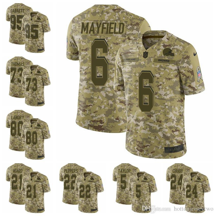 official photos 5464c 1d704 2019 Cleveland Camo Browns Limited football Jersey 2018 Salute to Service 6  Baker Mayfield 21 Denzel Ward 80 Jarvis Landry 95 Myles Garrett