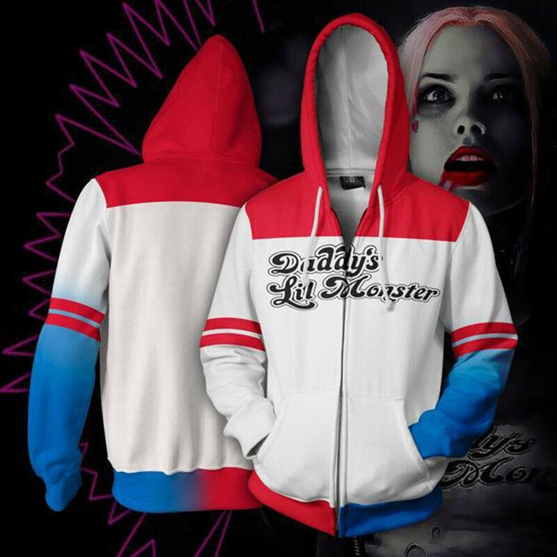 3f218827b273 2019 New Suicide Squad Joker Harley Quinn Zipper Jacket 3D Print Men Women Hoodie  Sweatshirt Casual Cosplay Coat YE16 From Hj272211689