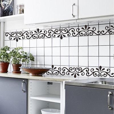 흰색 / 검은 색 아름다운 덩굴 창 테두리 벽 스티커 DIY 비닐 아트 벽화 문을 벽에 장식 홈 장식