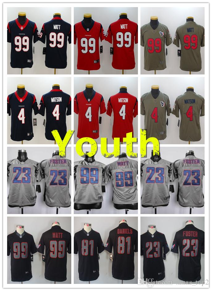 new style fef02 9d785 2019 Youth 4 Deshaun Watson Houston Jersey Texans Kids Football Jersey 100%  Stitched Embroidery 99 J.J. Watt Color Rush Boys Football Shirt