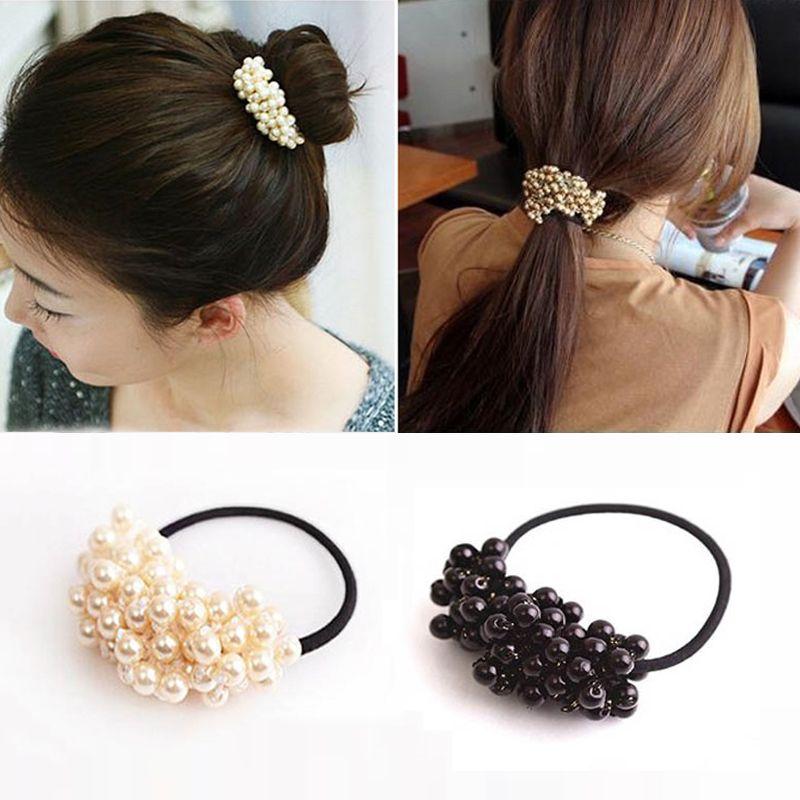 Vintage Pearl Hair Accessories High Elastic Headwear Hair Bands Beads Ponytail  Holder Rubber Gum Ring Rope Tie Scrunchies Hair Accessories For Weddings ... 4998efee58f