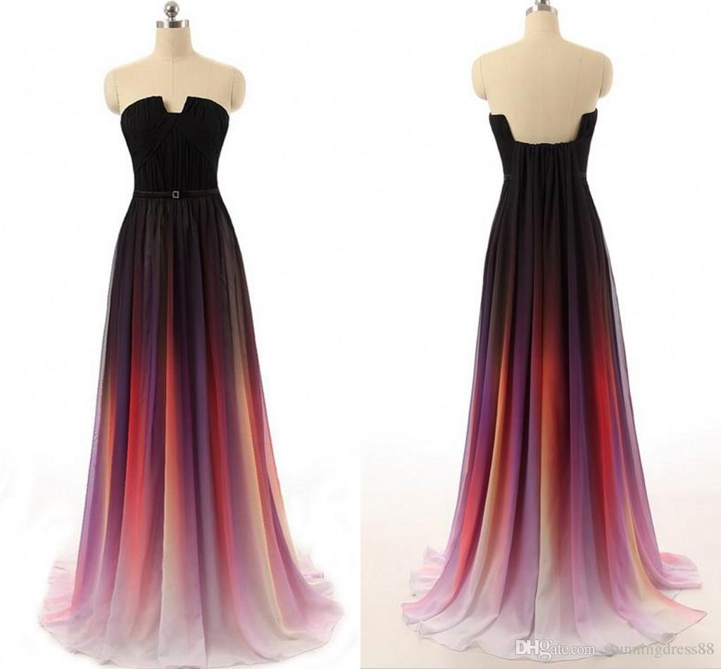 Fashion Ombre gradiant Long Evening Formal Dresses Real Photo Unique Neck Designer Chiffon Backless Pleated Bridesmaid Prom Dress Cheap
