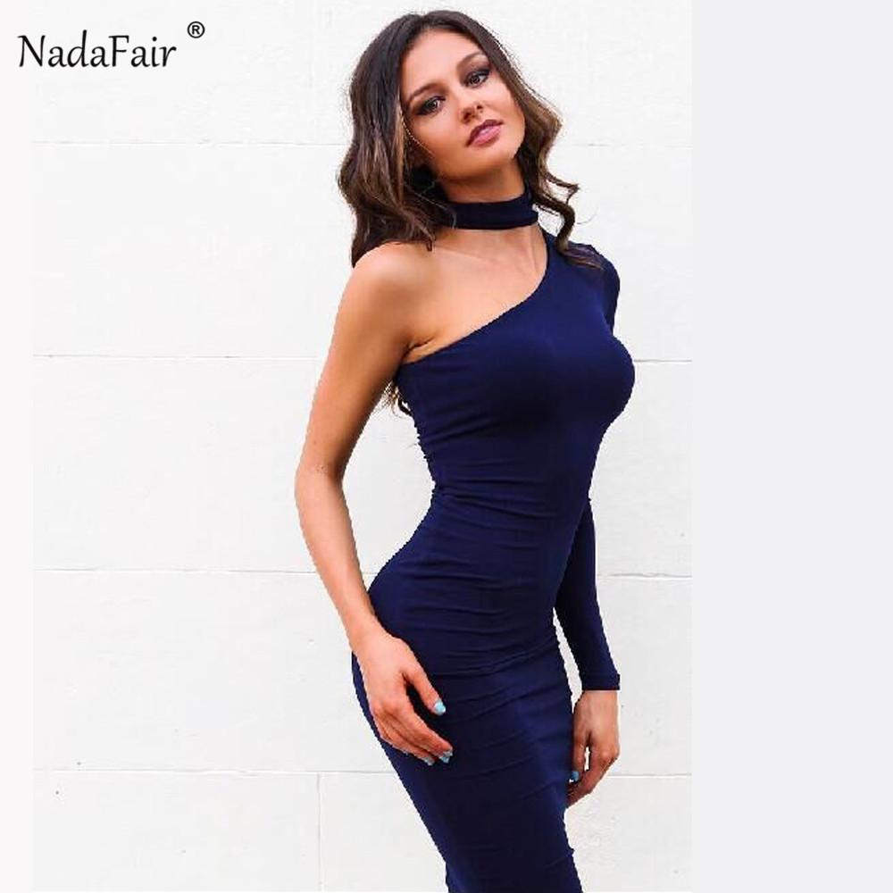 33636bd04 Compre Nadafair Un Hombro Manga Larga Sexy Club Bodycon Vestidos De Fiesta  Mujeres 2019 Primavera Halter Abrigo Lápiz Vestido Rojo Negro Blanco  Y190117 A ...