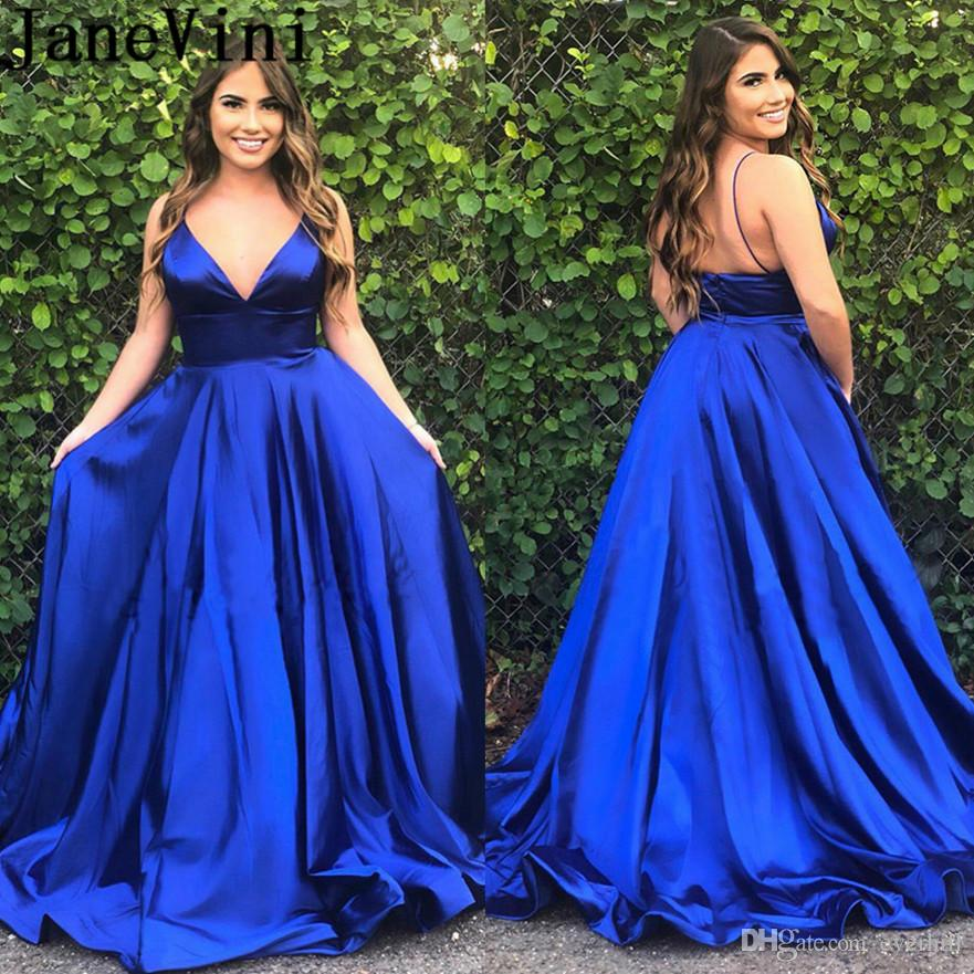 a64b45c6b650 JaneVini Sexy Backless Royal Blue Prom Dresses 2019 Long V Neck Spaghetti  Straps Gala Dress Women Satin Evening Ceremony Gowns Halter Neck Prom  Dresses Long ...