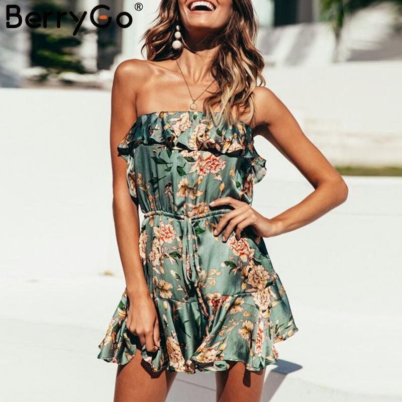 5587029bbd8 BerryGo Floral Print Jumpsuit Romper Women Satin Elastic Waist ...