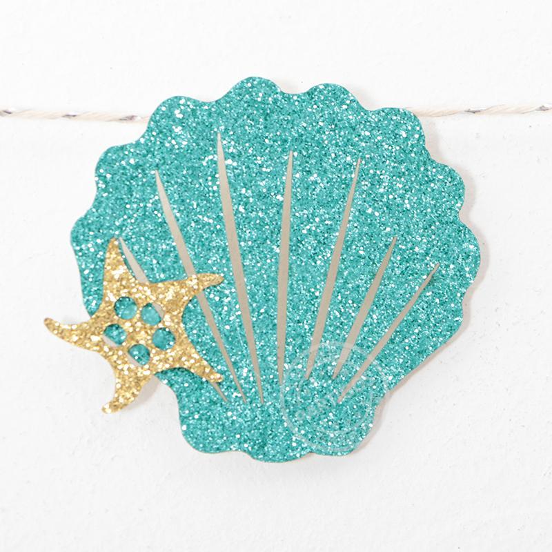 1 conjunto Sereia Glitter Banner Cartão De Papelão Carta Azul FELIZ ANIVERSARIO Roxo Shell Bandeira Decoração de Festa de Aniversário Do Oceano